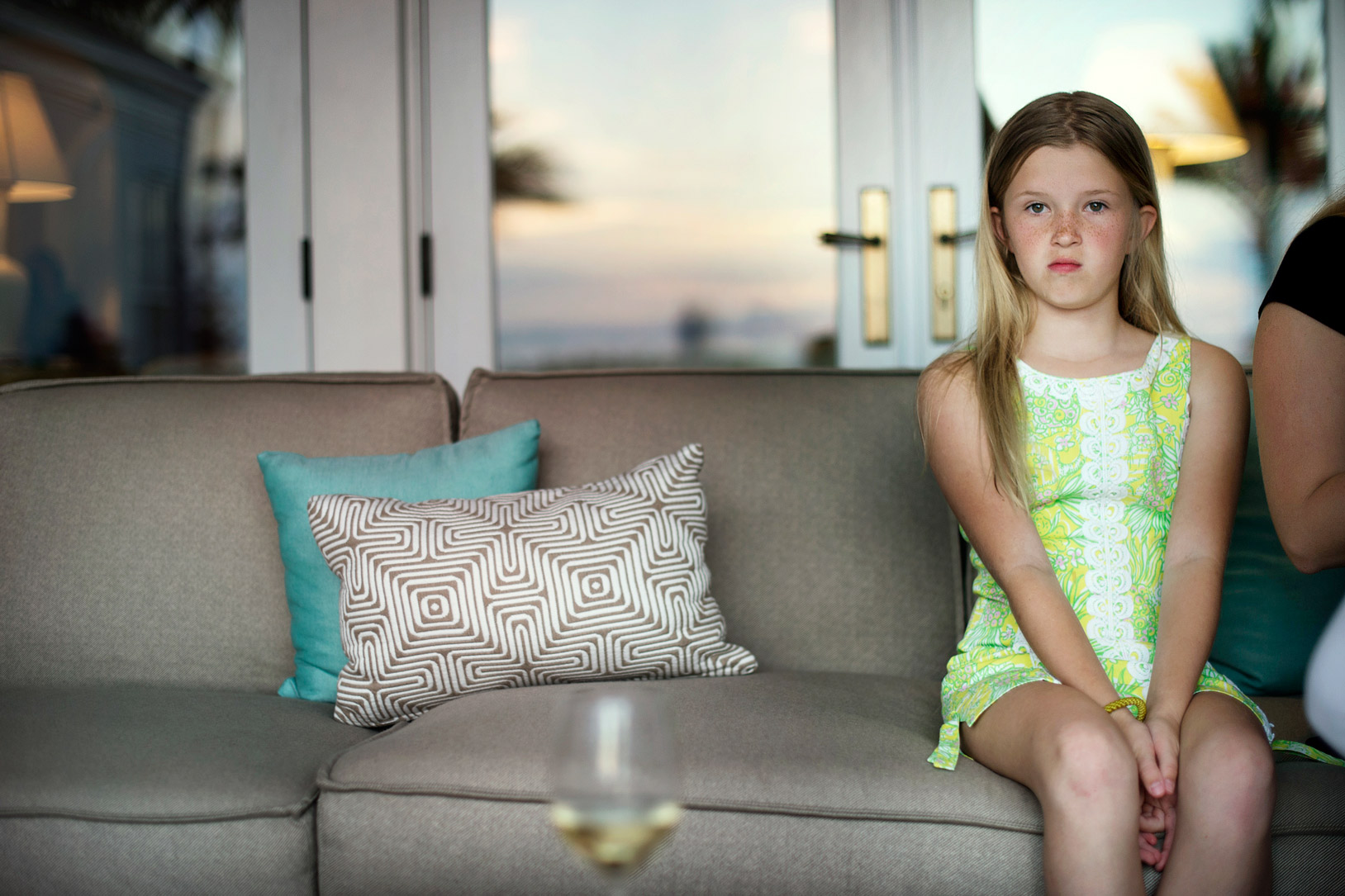 girl looking polite on sofa