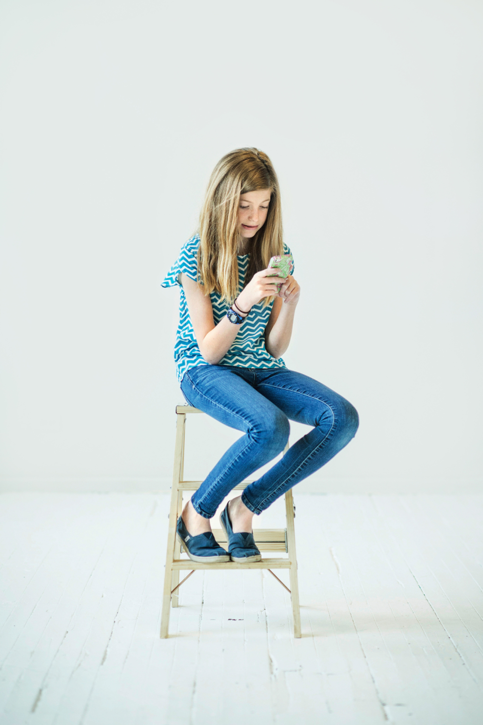 girl in studio with cell phone